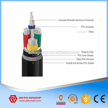 aluminum alloy conductor cross linked polyethylene insulated and PVC sheath 5 core 11 kv cable
