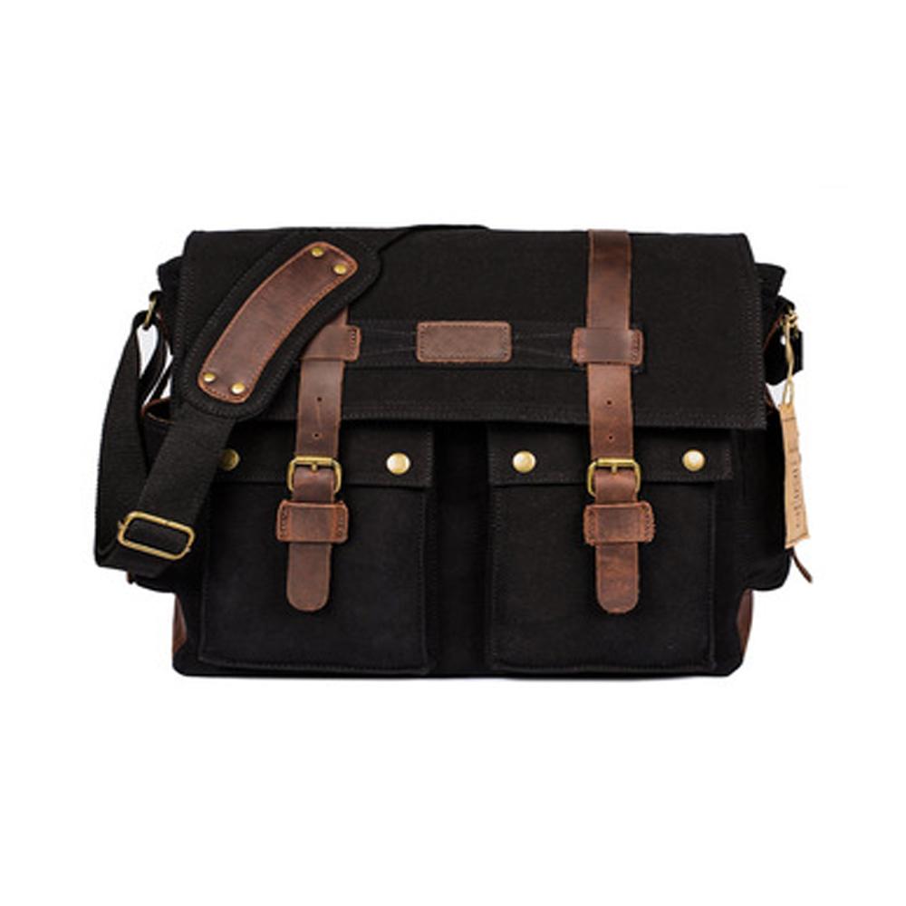 ca45c8d099 Fancy Quality 17.3 inch Laptop Unisex Vintage Canvas Satchel School Bag  Military Shoulder Messenger Bag (Black)