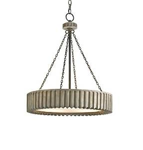 Currey and Company 9326 Greyledge - Three Light Chandelier, Old Iron/Washed Gray Finish by Currey and Company