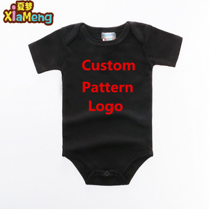 Small MOQ OEM custom onesie baby plain black romper