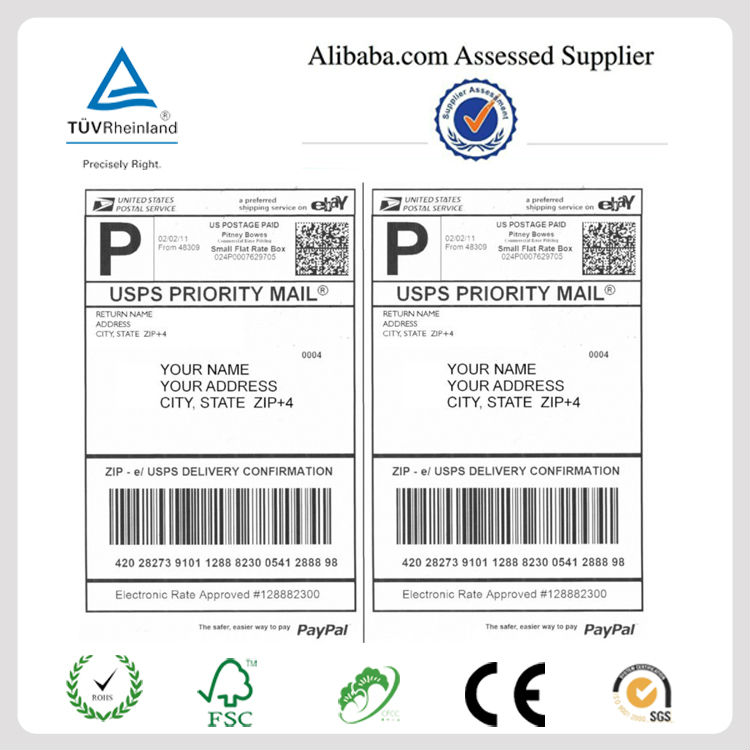 China Supplier Blank A4 International Shipping Labels For