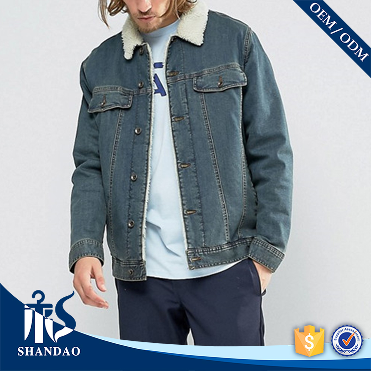 Guangzhou High Quality Winter Washed Basic Collar Flap Chest Pocket Button Closure Lamb Lining OEM Blue Mens Denim Jacket