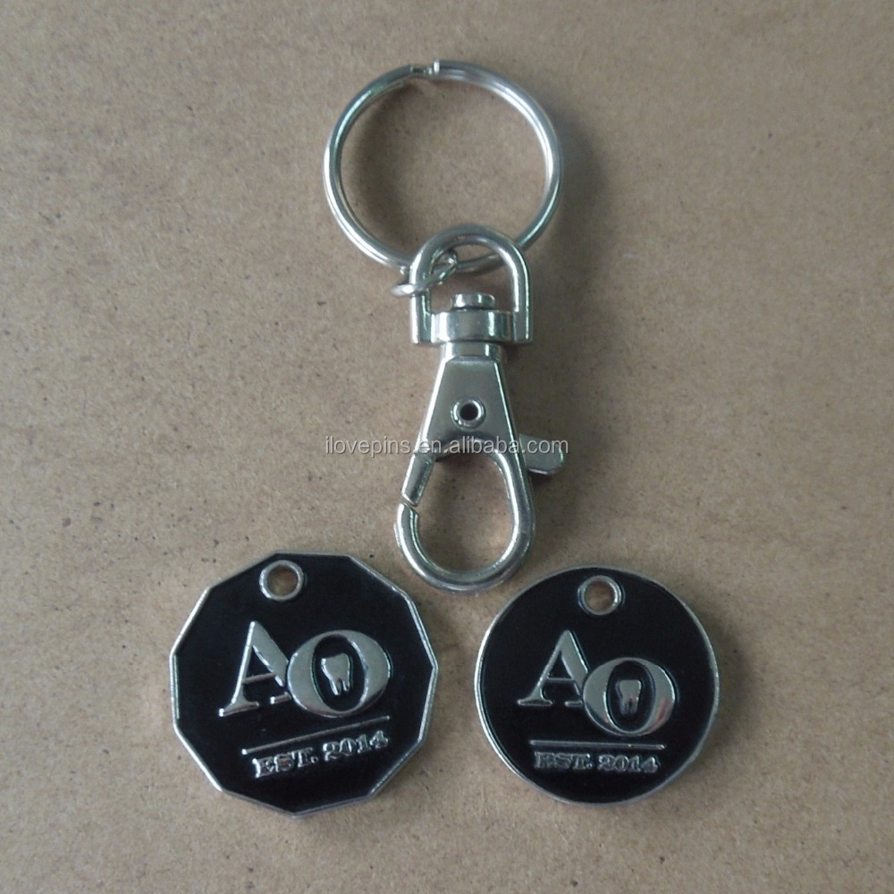 High Quality Customized Shopping Cart Chip Metal Keychain With Token