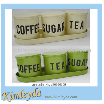 3pcs Iron Tea Sugar Coffee Canisters With Covers Tray