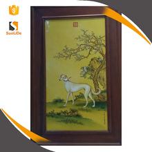 Home wall porcelain decor set chinese handpainted animals painting art