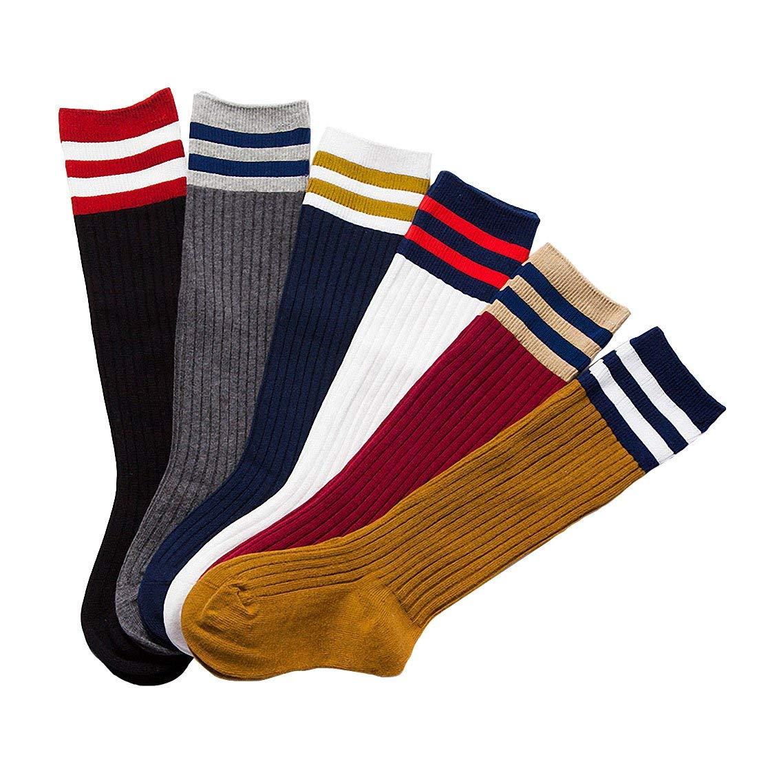 6 Pack Baby Girls Boys Toddler Kids Cotton Striped Knee High Stockings Tube Football Socks