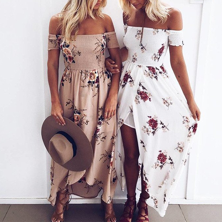 00d7d341ca21a trendy women clothing summer beach off the shoulder slit maxi floral print  dresses. Hot sale products. Hot sale in