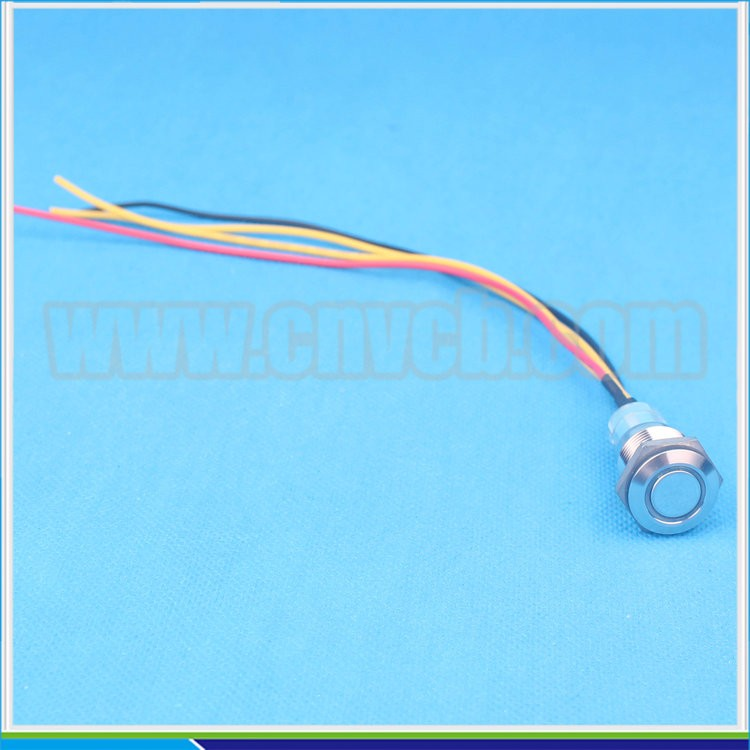 big discount 16mm flat head ring illuminated ON-OFF latching waterproof switch IB12V Blue led push button with cable in stock