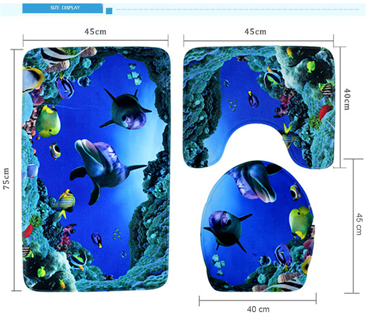 3 pieces set bath Mat Ocean Underwater World Carpet doormat Dolphin fish  printed Toilet Mat for bathroom 3 pcs Bath rugs - us312 0816a4d38dff7