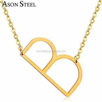 Beautiful ladies necklace letter b initial stainless steel gold beautiful ladies necklace letter b initial stainless steel gold plated jewelry jewellery pendant necklaces mozeypictures Images