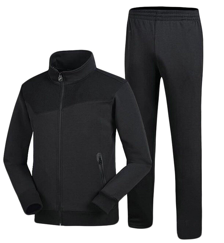 Cromoncent Mens Hooded Clothes Top Jacket 3 PCS Sweatpants Tracksuit Set