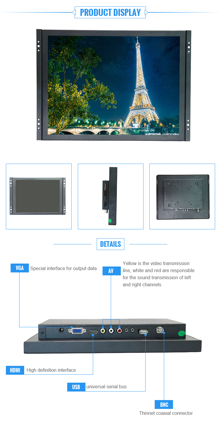 15 inch 1024 x 768 frameless lcd monitor with metal case