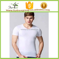 100% plain white organic cotton t-shirt with V neck for gentleman