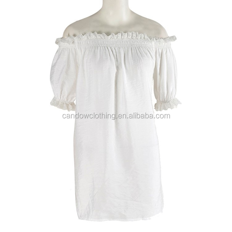 Hot Sell Women Lace Collar Ruffle Shirts Blouse Short Sleeves White