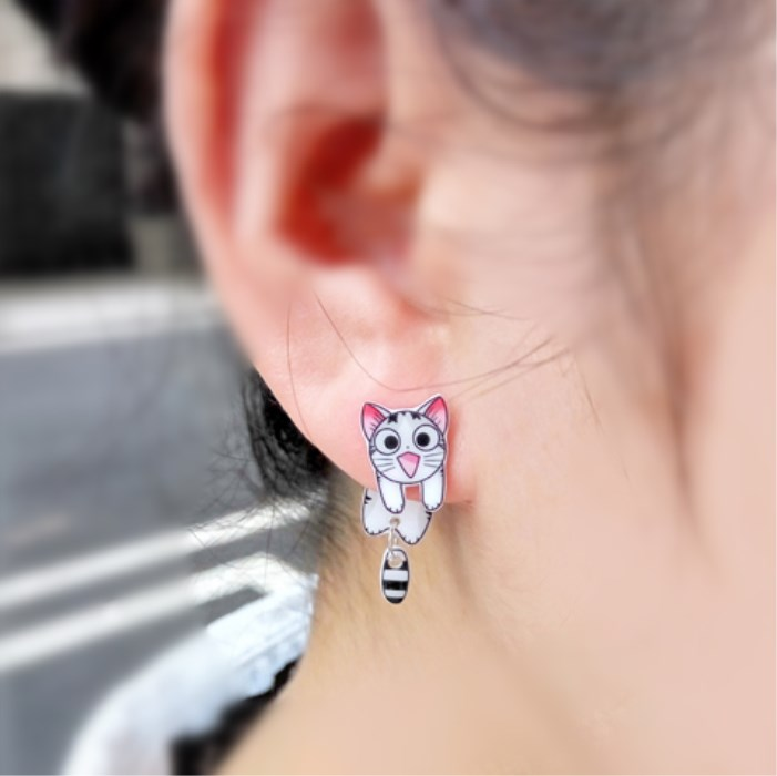 SENFAI jewelry Chiana factory cartoon cute cat stud earring girls fashion earring