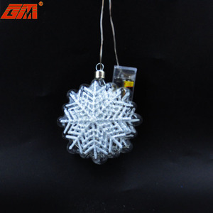 Wholesale handmade lighted glass snowflake glitter christmas ornaments