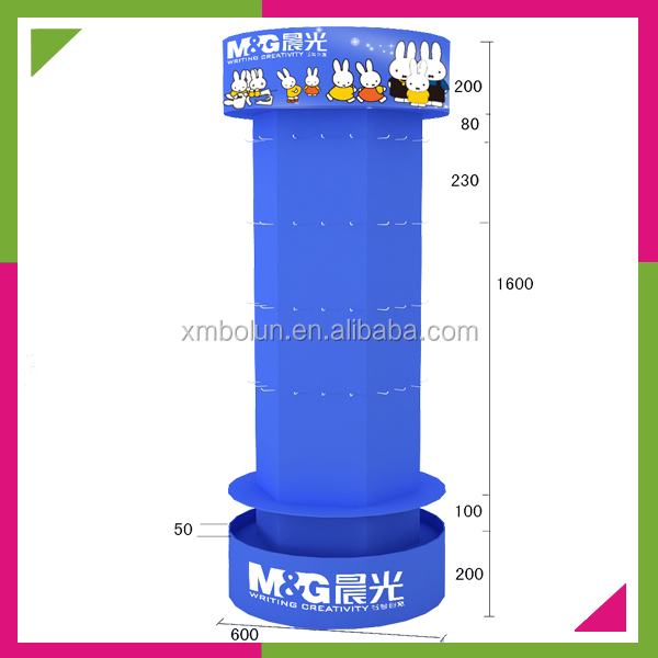 Custom 2014 popular floor standing promotional cardboard hanging pen display rack with hook