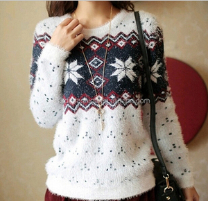 classy snowflake pattern hairy ladies cropped fuzzy sweater for women