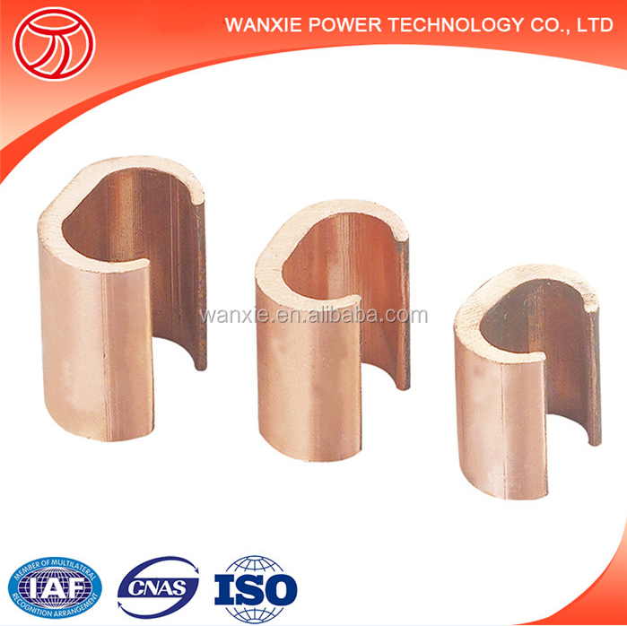 Cable Accessory Grounding Wire Clamp / C Shape Pure Copper Pipe ...