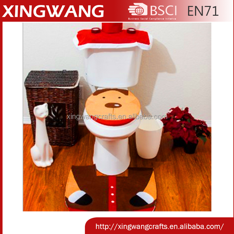 Hot promotion item christmas reindeer toilet seat cover christmas holiday bath decoration