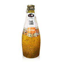 Sweet non alcoholic beverage glass bottle orange flavor basil seed juice soft drink