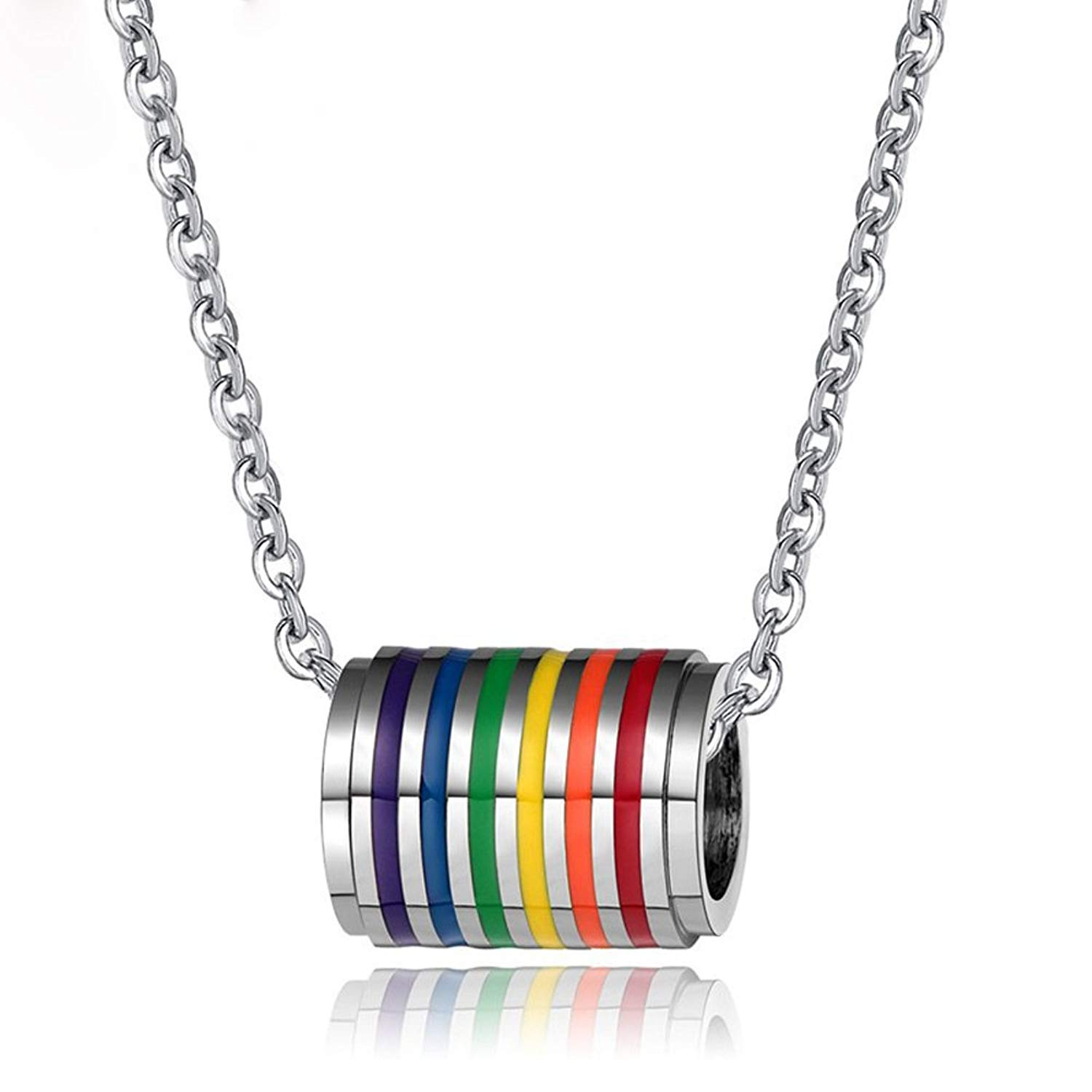 LF Stainless Steel Gay Pride Necklace Rainbow Pride LGBT Lesbian Gay Inspirational Friendship Pendant Necklaces with Gay Pride Flag Gift for Marriage Engagement IDAHO