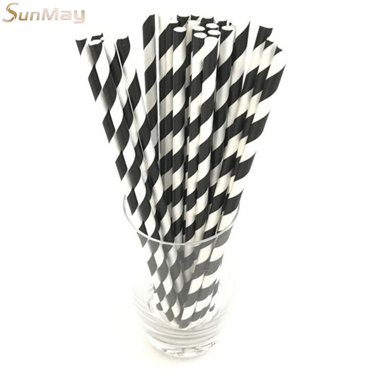 Bar party disposable juice drinking straw black and white circle disposable paper drinking straw
