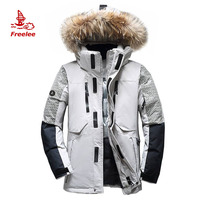 OEM custom fur hood fashion puffer jacket men winter long down jacket