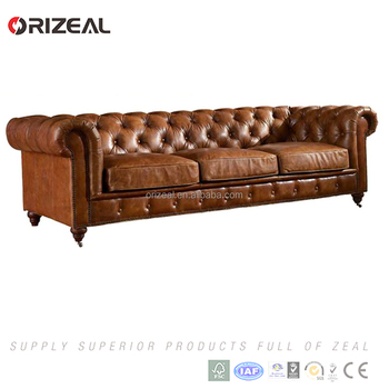 Antique light brown chesterfield sofa genuine leather sectional sofa Cost-effective  sc 1 st  Alibaba : chesterfield leather sectional - Sectionals, Sofas & Couches