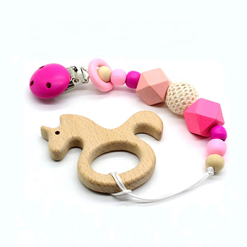 2019 New Design Teething Chew Toy Assorted Pendant Wooden Teether Pacifier Clip Baby Teething Clips