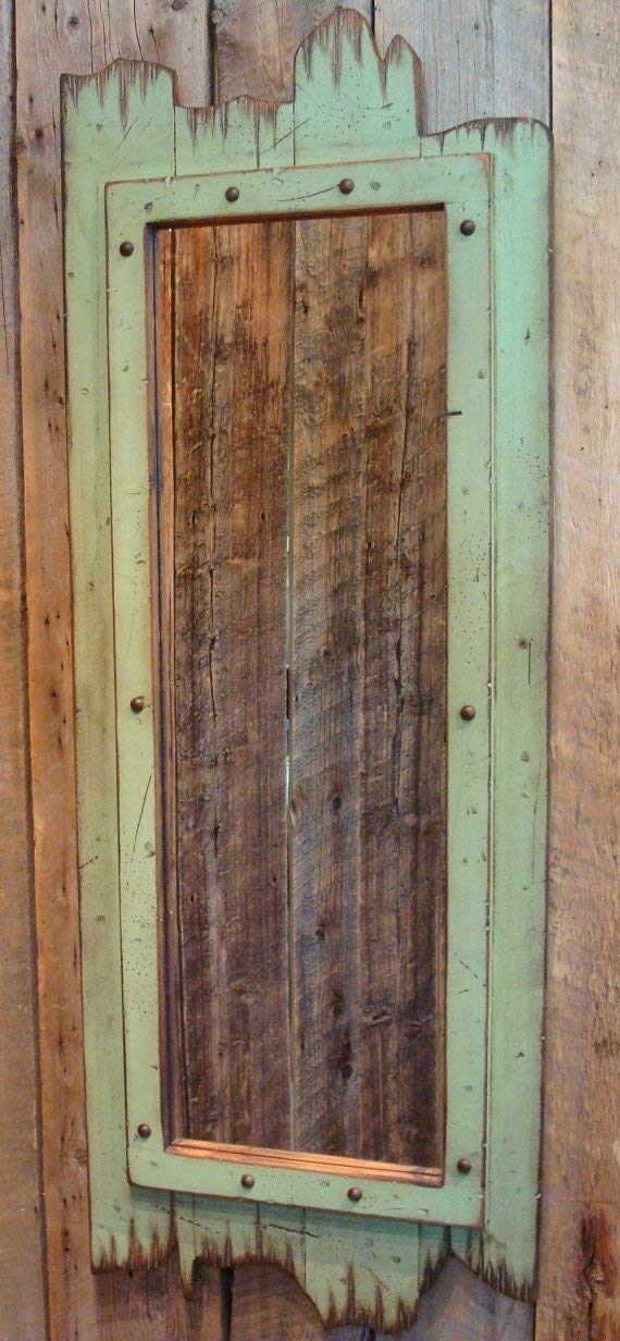 Old antiqued distressed light green rustic lodge barn wood mirror rustic western mirror