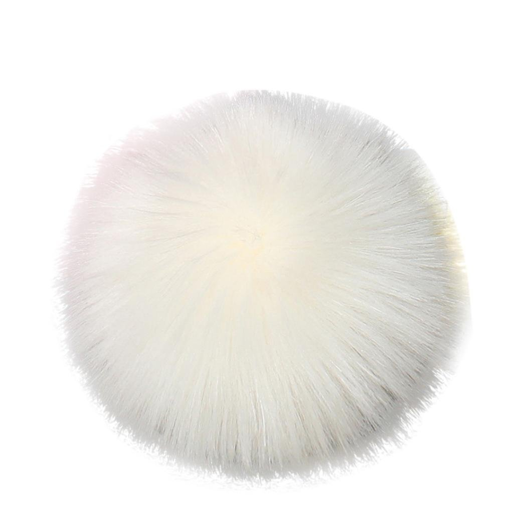 ✓Winter Fur Pom Pom Hat Smdoxi Womens Crochet Knit Beanie Hat with Real Raccoon Fox Fur Ball✓Pompom Ball Keychain Handbag Backpack Decor (White)