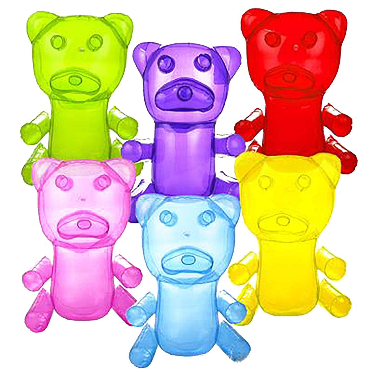 Inflatable Gummy Bears in Assorted Colors for Party Decorations - 18 Inch Gummy Bears (6)