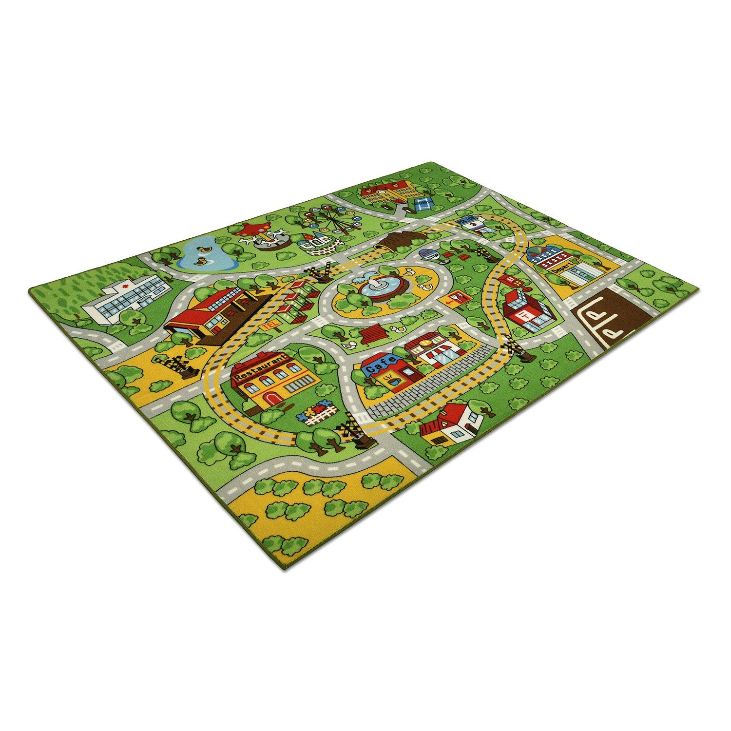 Buy Ikea Rug With Roads For Toy Cars And 3 Wooden Toy Vehicles In