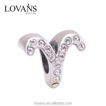 Alphabet Slide Charms Accessory Jewelry Star Sign Aries Bracelet Charm X321e