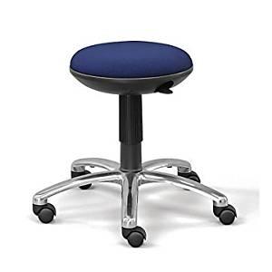 Memory Foam Fabric Stool (Jacquard 016 Black Fabric Seat/Polished Aluminum Base/Black Cylinder)