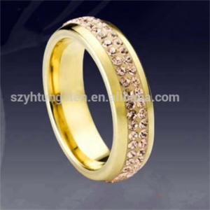New Design 4mm Gold Plated Brown CZ Around Inlaid Convex Surface Lover's Gorgeous Engagement Wedding Ring /Tungsten Carbide Ring