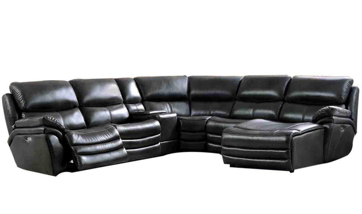 ESF Furniture 2711 Leather Right Hand Facing Sectional Sofa in Dark Gray