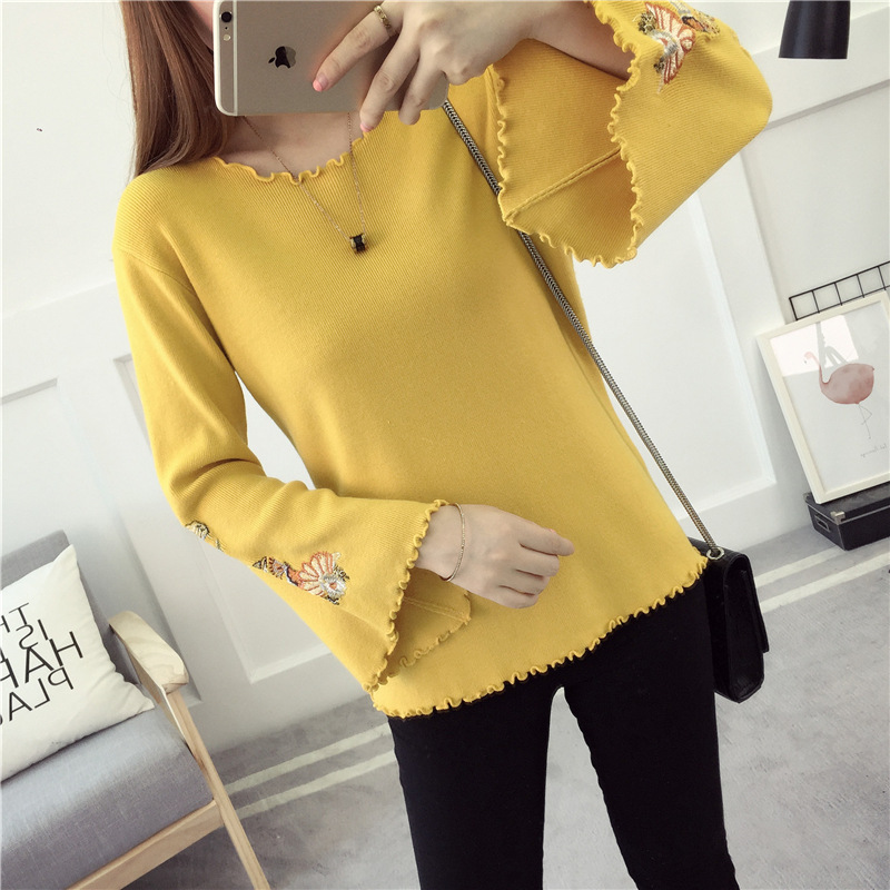 B22360A Europe new design horn sleeve bottoming shirt embroidered knitting sweater