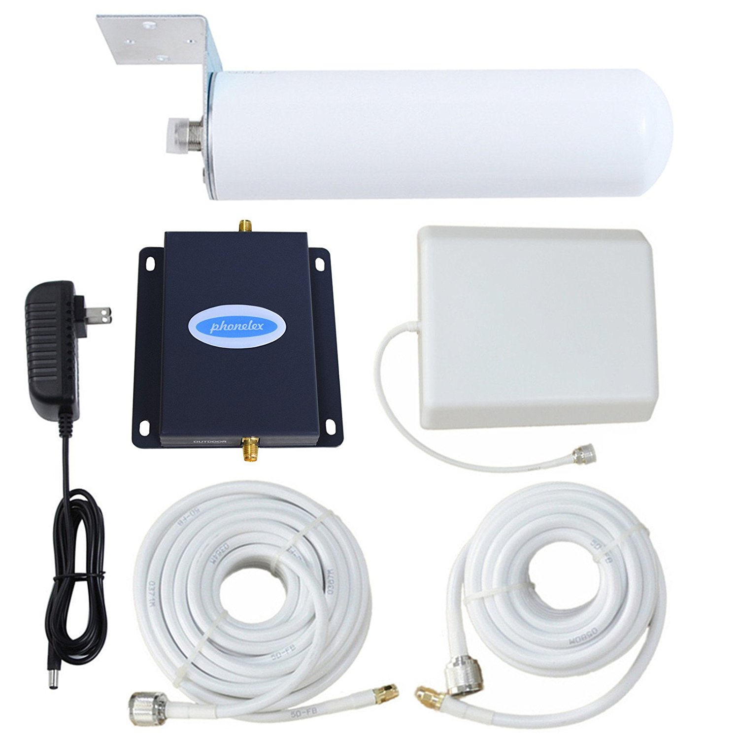 Phonelex AT&T T-Mobile Cell Phone Signal Booster 4G LTE Mobile Phone Signal Booster Repeater 700Mhz Band12/17 AT&T Cell Signal Amplifier with Indoor/Outdoor Panel and Omni-Directional Antennas Kit