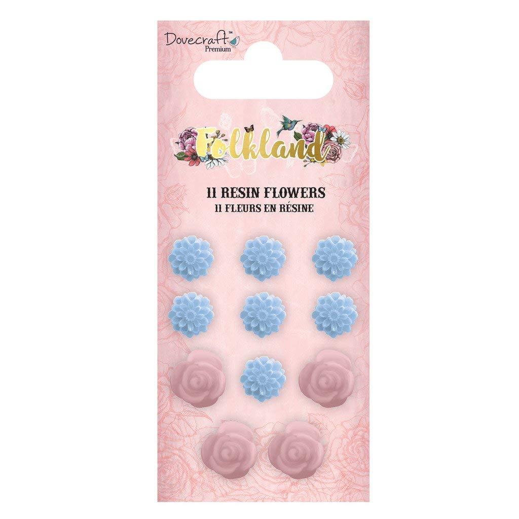 Dovecraft Premium Folkland Paper Craft Collection - Resin Flowers (11pcs)