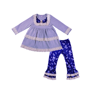 2018 fall casual Long sleeved lace ruffle sets children's boutique clothing