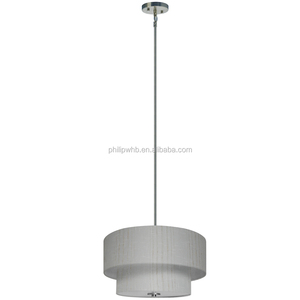 3 light chandelier in satin steel finish with oklahoma wheat fabric shade