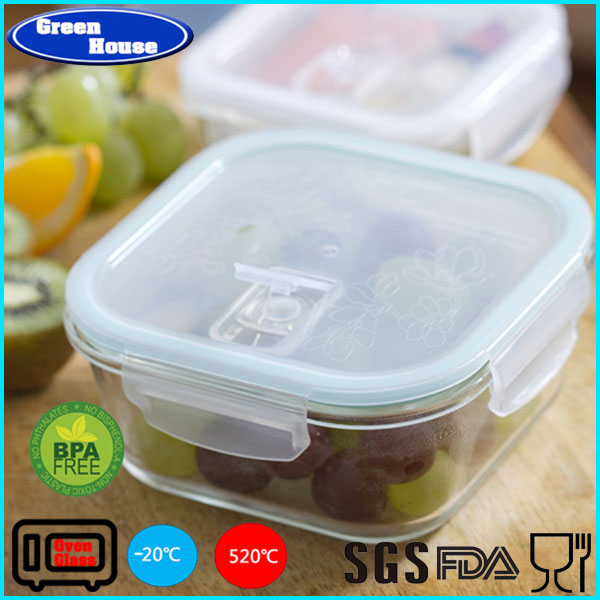 Healthy Green High Borosilicate Glass Customized Square Shape Lunch Storage Box