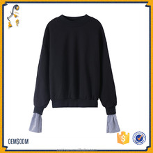Fashion loose puffs sleeves sweater female fake two pieces stitching sweatert knitted sweater