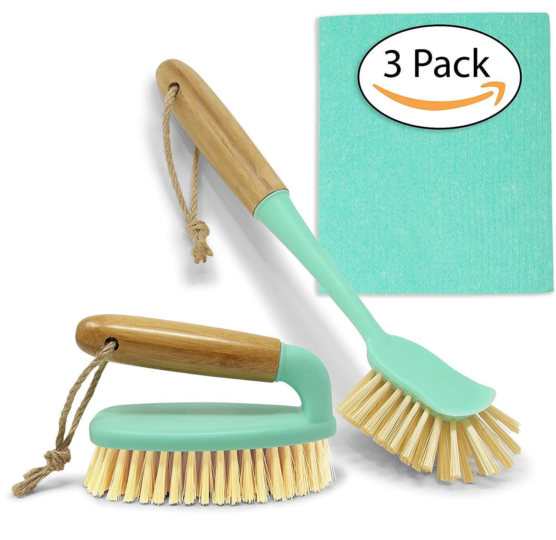 Scrub Brush Dish Scrubber Set - Long Bamboo Handle for Bathroom & Kitchen Cleaning - Bottle Brush & Swedish Dishcloth for Dish Washing Plates, Countertops, Shower, Floor Tile, Tumblers, Instant Pot