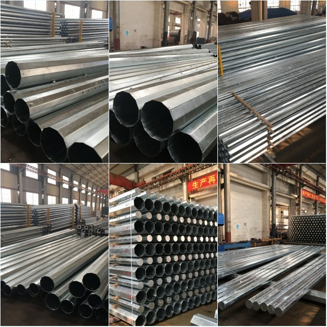 12m steel utility pole galvanized steel conical pole For 33kv transmission line steel pole tower