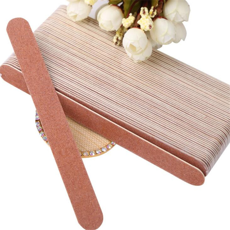 Well Fit Nails Edge Wooden Nail Files 0.15mm Thin Manicure Natural Nails File Double Sided Coarseness Grit 100/120 фото