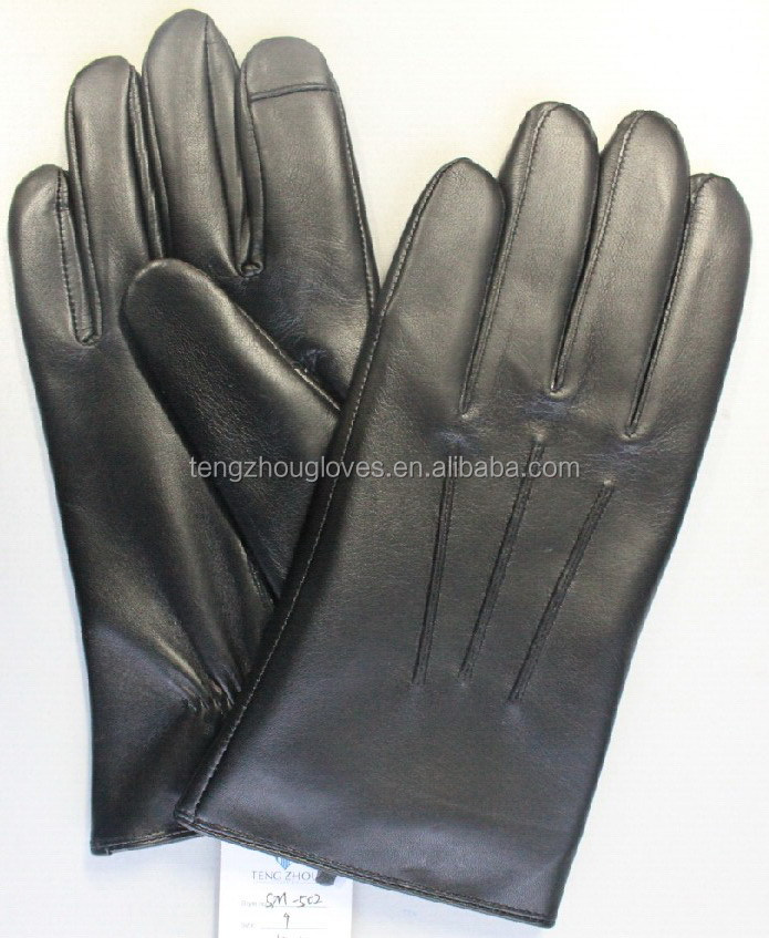 2016 conductive sheep skin leather gloves for men screen touch leather gloves