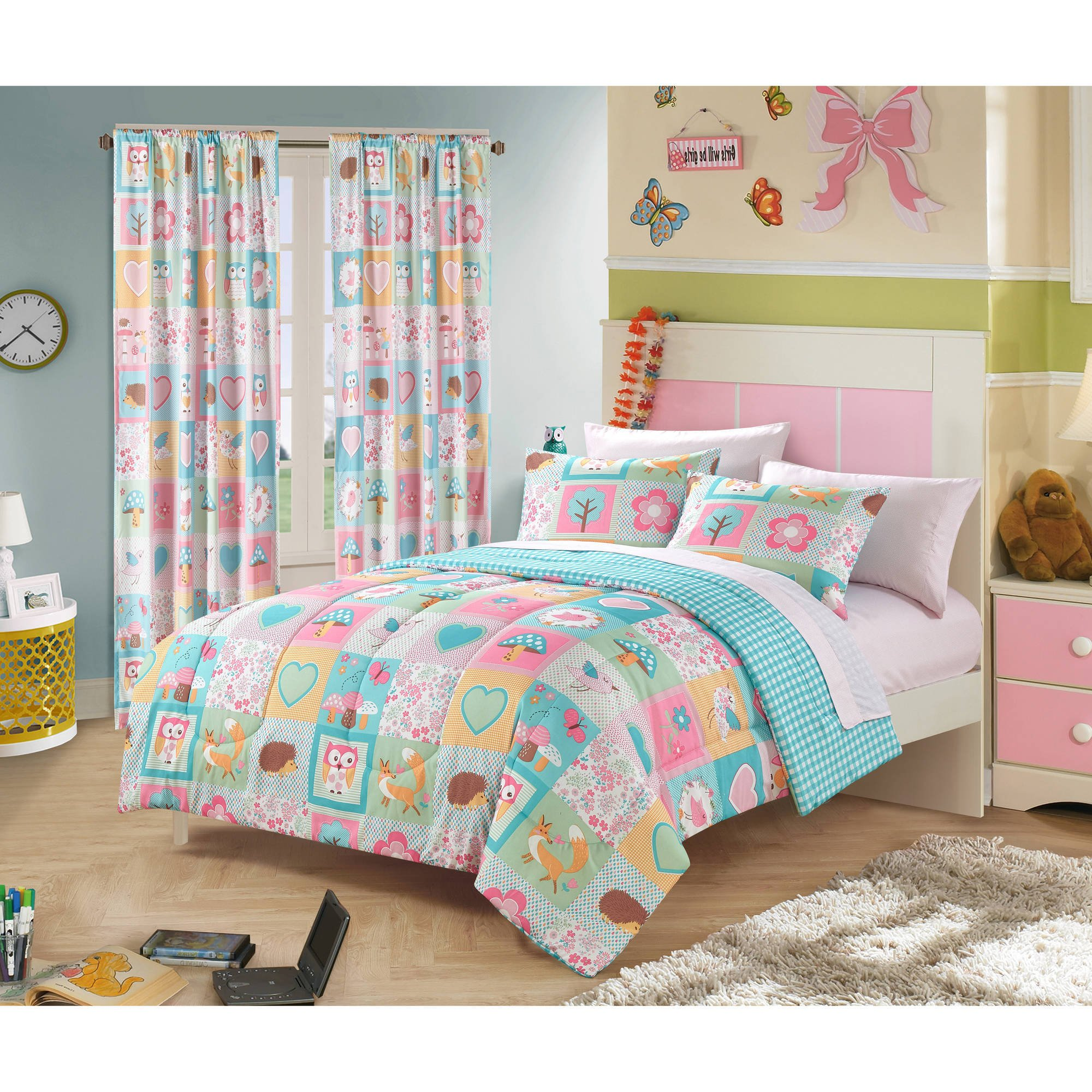 5 Piece Girls Pink Forest Friends Comforter Twin Set, Turquoise Fox Hedgehog Owls Forest Animal Tree Geometric Design, Kids Bedding For Bedroom Butterfly Floral Pattern, Cheerful Teen Themed Polyester